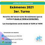 3er. Turno de exámenes 2021