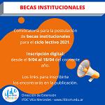 Convocatoria para la postulación de Becas Institucionales para el ciclo lectivo 2021.